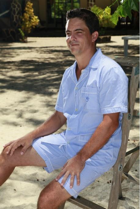 Blue stripe short pyjama for men