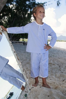 White and blue striped boys' Pyjama