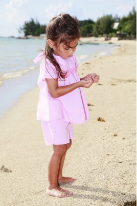 Girls' Pink Chambray Short Pyjama