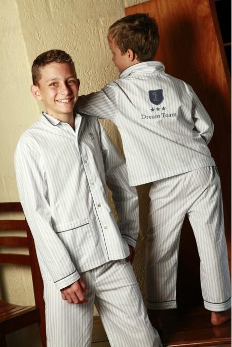 Pyjama Garçon Roméo Blanc Rayure Ciel 14 ans
