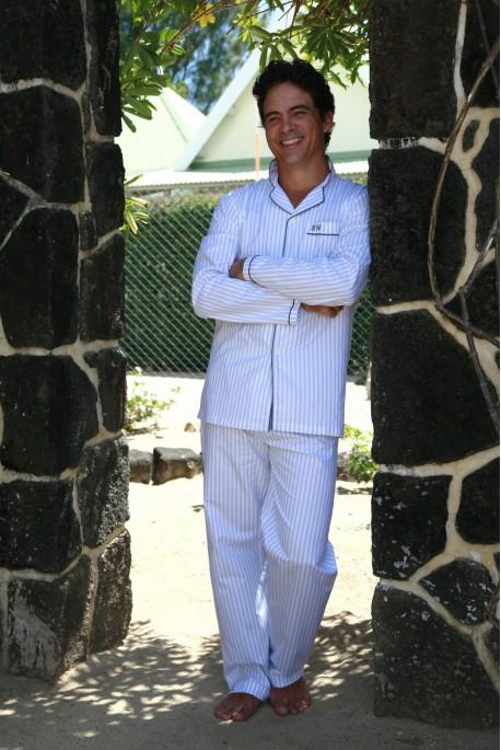 Pyjama Hommes classique Harry blanc rayure ciel