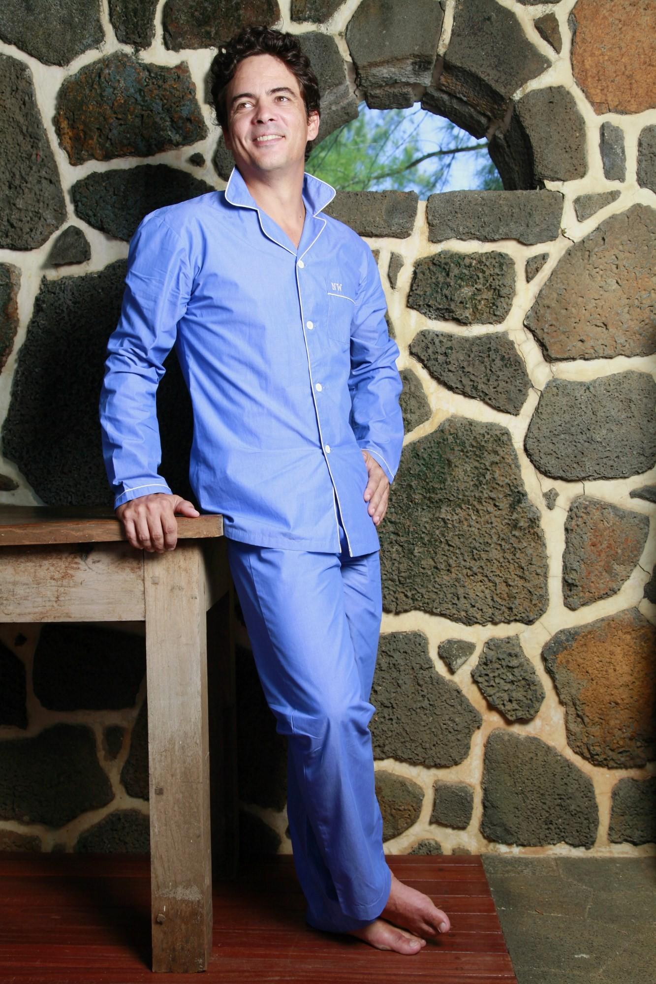 pyjama homme chambray bleu charles l 39 orangerie. Black Bedroom Furniture Sets. Home Design Ideas