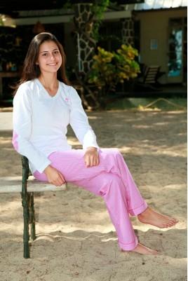 Roze gestreepte Pyjama voor dames