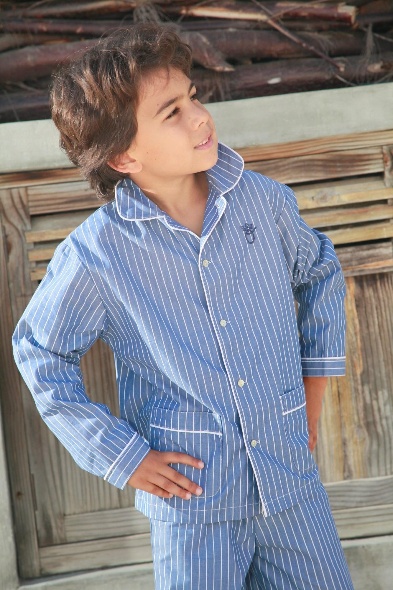 pyjama gar on romeo rayure bleu l 39 orangerie. Black Bedroom Furniture Sets. Home Design Ideas