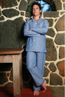 Blauw gestreepte Pyjama voor heren