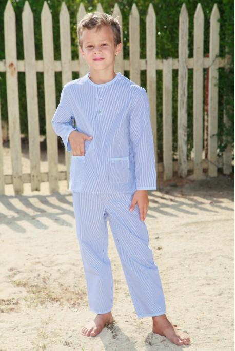 Pyjama Garçon 3 ans Grégoire rayé Ciel