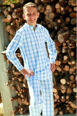 Sky Blue Check Boys' Pyjama