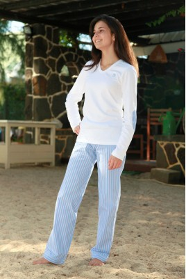 Sky Blue Stripe Ladies' Pyjama