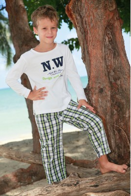 Green Navy Check Pyjama for boys