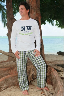 Green Navy Check Pyjama for Men