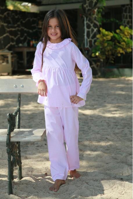 Pink Checks Girls' Pyjamas