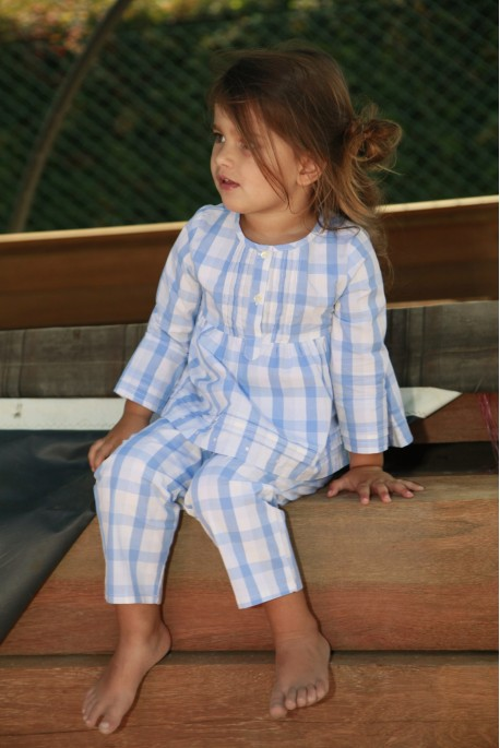 Sky blue checks Girls' Pyjamas