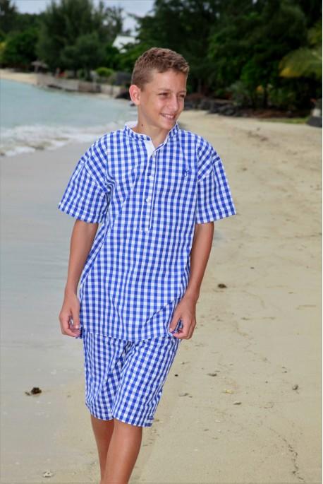 blauw ruitje Pyjama voor jongens