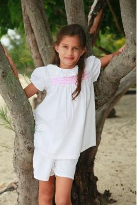 White dobby Girls' Pyjama