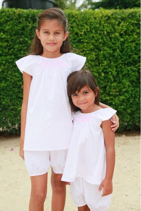 Printed white dobby girls' pyjama
