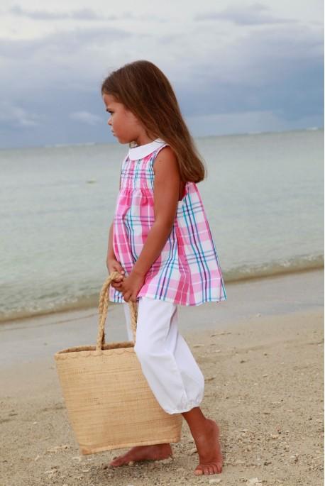 Pyjama enfant Fille Albertine rose et blanc