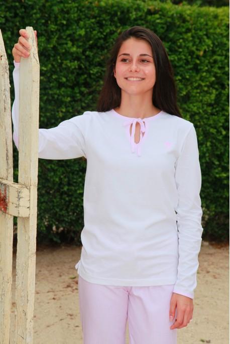 Pyjama Femme Victorine2 rayure rose