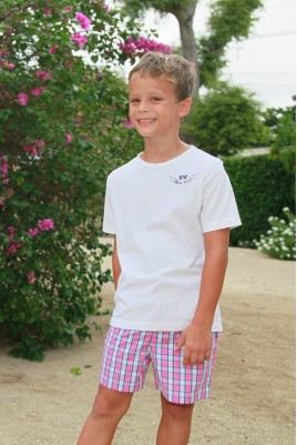 Boys' Pink Check Pyjama Junior
