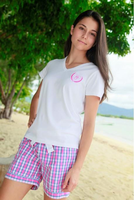 Pyjama court à carreaux rose pour Femmes Venance