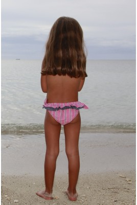 Maillot de bain fille Luciole rayé rose
