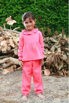 Girls' coral pink pyjama