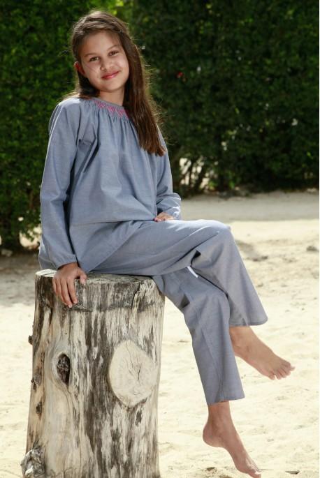 Pyjama Long hiver pour Fille Clarisse Coloris Bleu jean 10 ans 12 ans