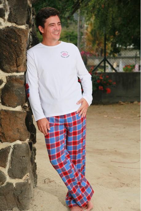 Pyjama Long Twill Carreau Rouge Bleu Homme Gonzague Sr