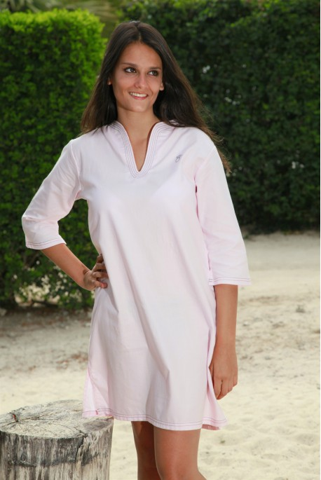 Chemise de nuit unie rose Femme Nora