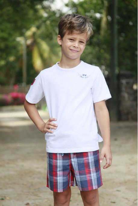 Korte pyjama voor jongens Blauw Rood ruitje