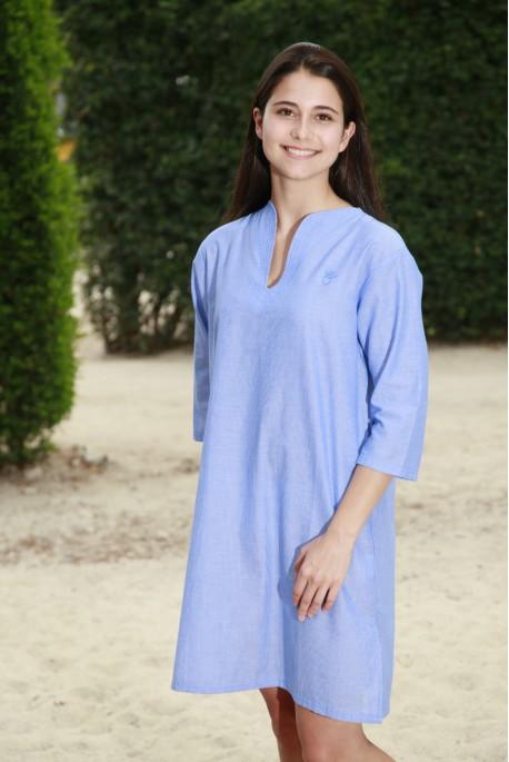 Chemise de nuit Femme Nora rayure bleu