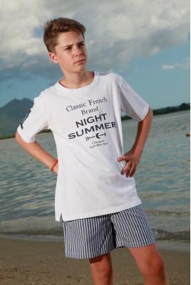 Pyjama court à rayures Tennis Marine pour garçon Junior