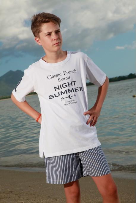 Pyjacourt à rayures Tennis Marine pour garçon Junior