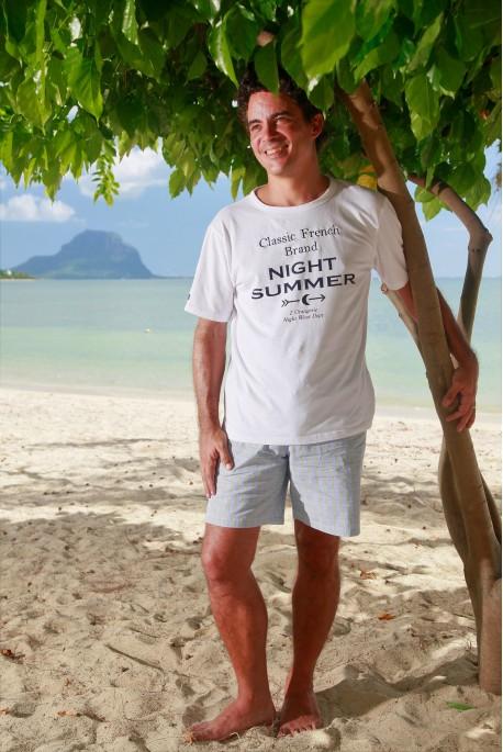 Pyjama court à carreaux ciel et vert pomme pour homme Sénior
