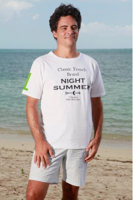 Pyjama court à rayures ciel/vert pomme pour homme senior