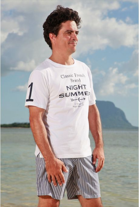 Pyjama court à rayures Tennis Marine pour homme Senior