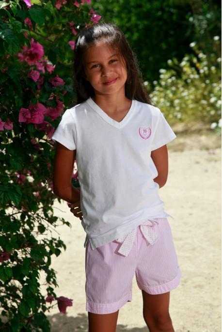 Pyjama court pour fille à rayures rose Venance