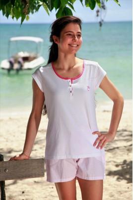 Pyjama court imprimé rose pour Fille Violette