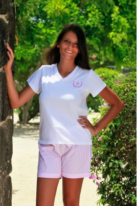 Pyjama court rayure rose pour Femme Venance