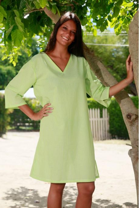 Chemise de Nuit Nina Voile Fine rayure Verte