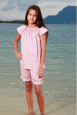 Pyjama Court en tissu Lange Vieux Rose pour Fille Léopoldine