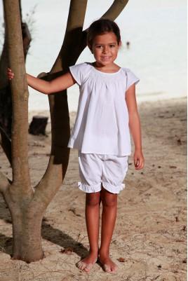 Pyjama Court Blanc pour Fille Léopoldine