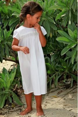 Pyjama Court Blanc à smocks pour Fille Olympe