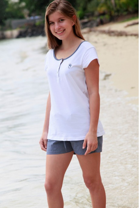 Pyjama court bleu pour Femme avec T-Shirt Violette 2