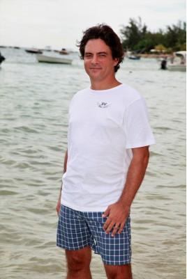 Pyjama Homme Bleu T-Shirt Blanc Broderie - Sénior