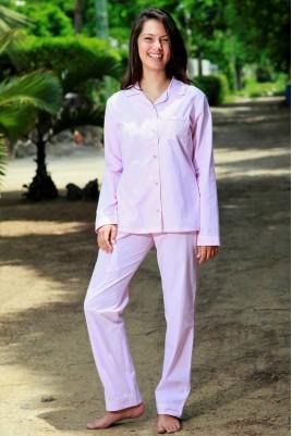 Pyjama Classique Rayure Chocolat pour Femme Gloria