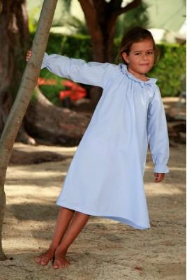 Chemise de Nuit à rayure Bleu Ciel pour Fille Amicie