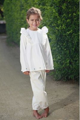 Pyjama long blanc pour fille Calistine