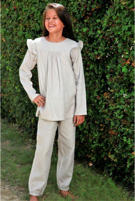Pyjama Long en tissu Lange gris Léonie