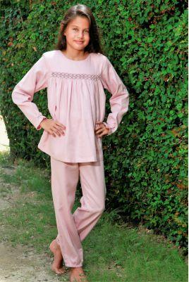 Pyjama Long pour Fille en tissu Lange Vieux Rose Blandine