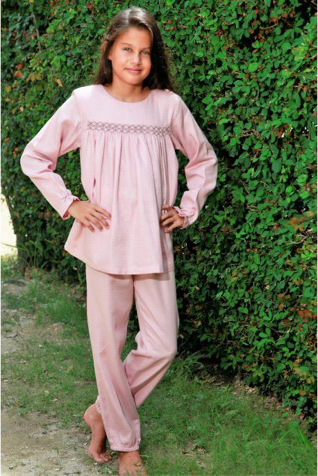 Pyjama Long en tissu Lange Vieux Rose Blandine